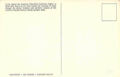 Vista Dome California Zephyr Traveling Through Colorado Rockies Vintage Postcard