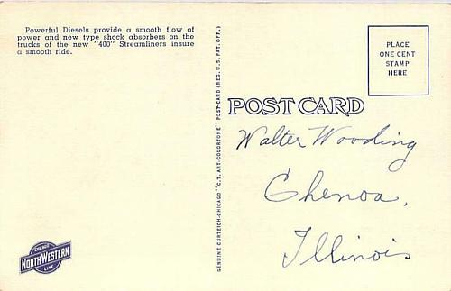 New Streamliner 400, Chicago & Northwestern Line Vintage Postcard