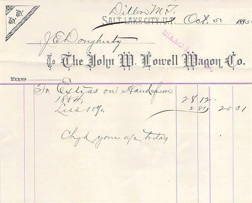 Dillon Montana Territory, Commission Merchant Corner Card Cover to Radersburg