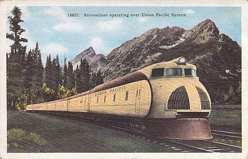 Streamliner City LA Train Operating Over Union Pacific System Vintage Postcard