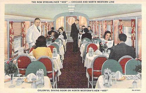 New Streamliner 400, Chicago & North Western Line, Dining Room Vintage Postcard