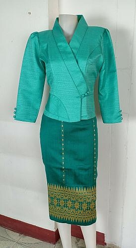 Mint Lao Laos 3/4 Sleeve Blouse size 6 Cotton Blend Sinh Skirt M For New Year