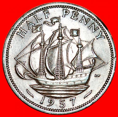 ★SHIP Golden Hind: UNITED KINGDOM★ HALF PENNY 1957 CALM SEA RARITY! LOW START ★
