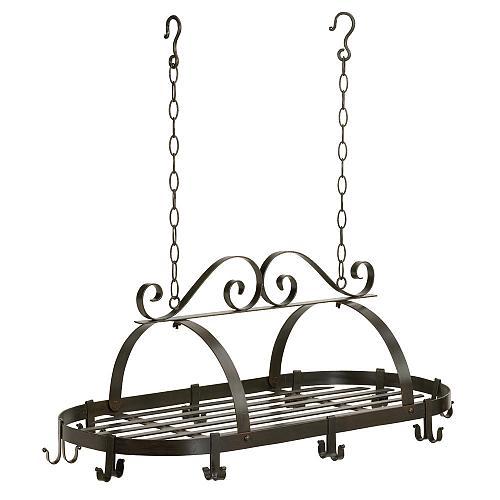 35603U - Black Scrollwork Wrought Iron 10 Hook Hanging Pot Holder Shelf Rack