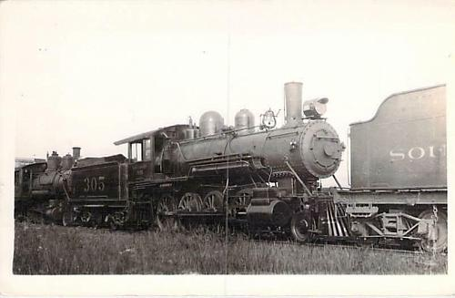 Southern Railroad at Finlet, Ala. Engine #305, 1925 Real Photo RPPC Postcard