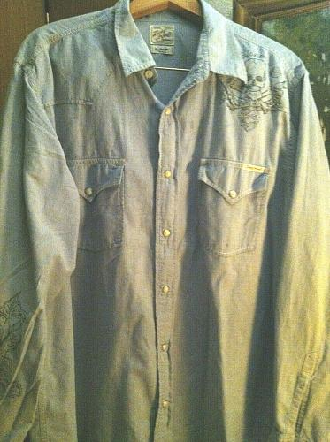 Men`s XL Lucky Brand Snap Button Down Light Blue Western Snap Button Down Shirt
