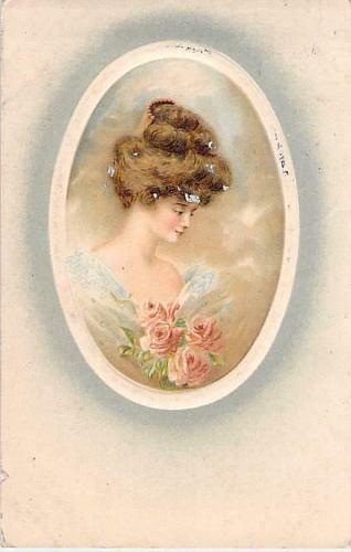 Young Woman with Bouquet of Roses Vintage Used Postcard