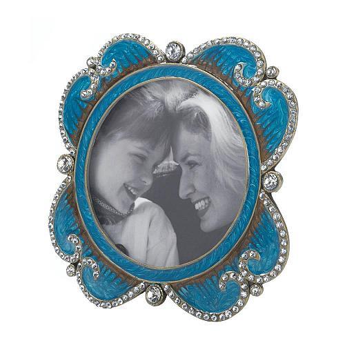 *17047U - Turquoise Enamel Rhinestone Treasure Photo Frame Holds 3x3 Round