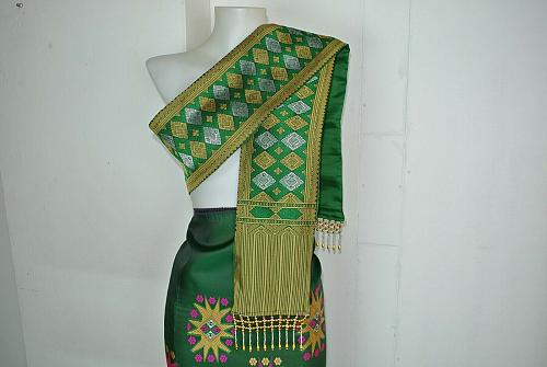 Green Lao Laos Synthetic Silk Fabric Glue sinh Skirt Pha Bieng for NEW YEAR