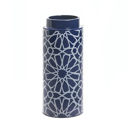 "*16809U - Orion Blue 11 1/2"" White Geometric Pattern Ceramic Vase"