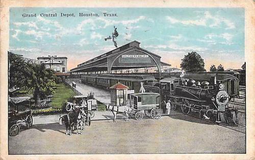 Grand Central Depot, Houston, Texas Railroad Vintage Postcard