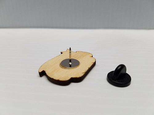 Laser Engraved Beast Boy Wood Hat Pin