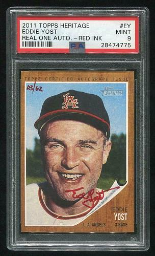 2011 TOPPS HERITAGE REAL ONE RED AUTO EDDIE YOST PSA 9 MINT (28474775)