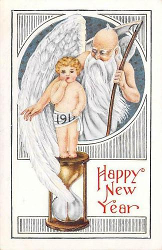 A Happy New Year Baby and Father Time Embossed Vintage Postcard