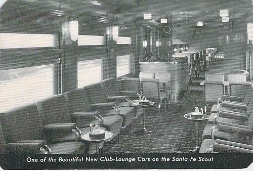 One of the Beautiful New Club Lounge Cars on Santa Fe Scout Vintage Postcard