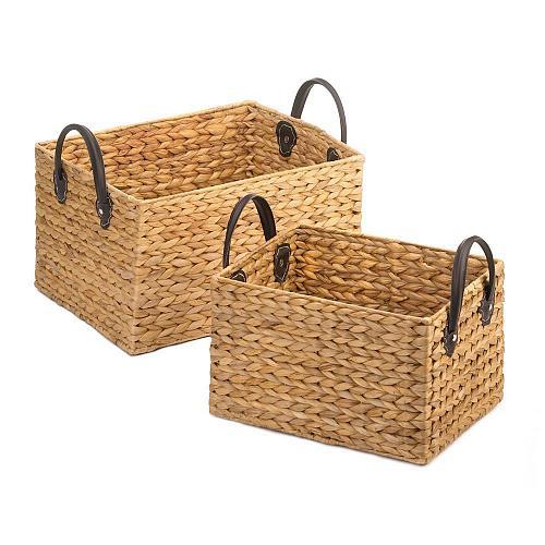 *18776U - Rectangle Hyacinth Straw Wicker Storage Basket Duo