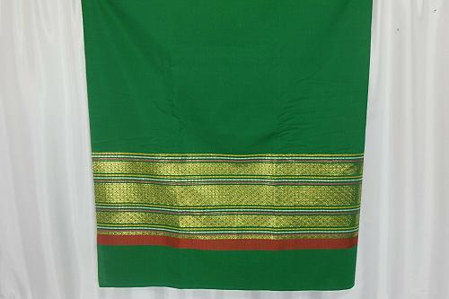 Thai Tradition Green Synthetic Silk Fabric For Top Skirt Wedding dress E7