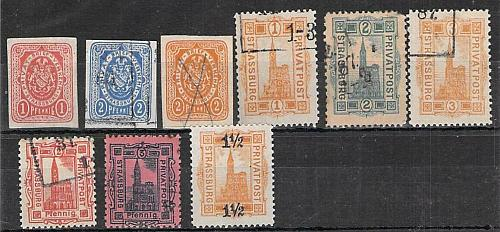 Mini Collection of Strassburg Germany Private Post, Stadt Post, Mint and Used