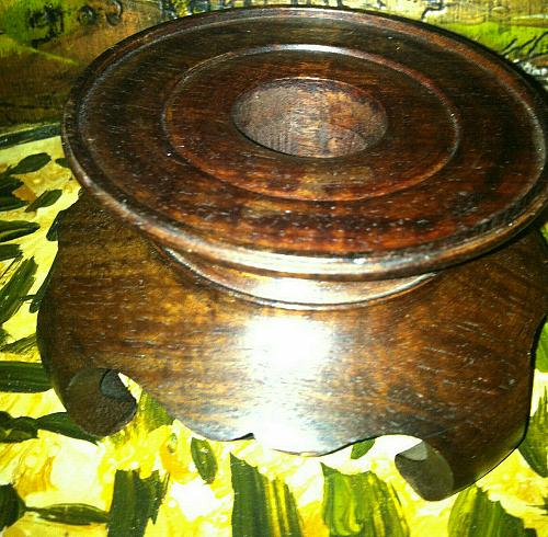 "Wooden Vase Stand Made in Hong Kong 4 3/8"" X 2 1/4"""