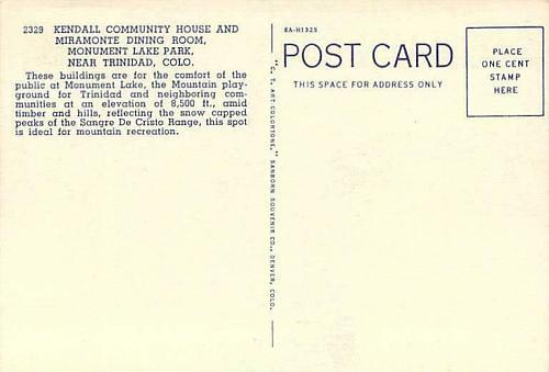 Kendall Community House, Monument Lake Park, Colo. Unused Vintage Postcard