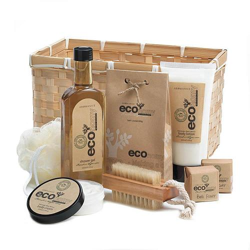 D1121U - Eco-nomy Bamboo Sugarcane Deluxe Bath Set Gel Lotion Cream Basket