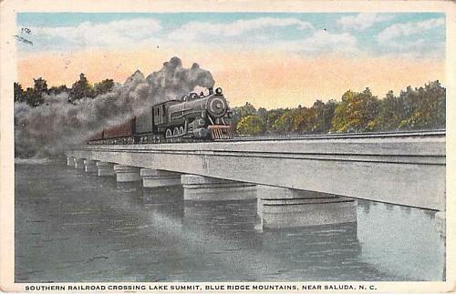 Southern Railroad Crossing Lake Summit, Blue Ridge Mts. NC Vintage Postcard