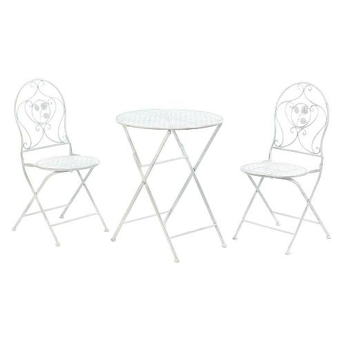 *18028U - White Iron Patio Bistro Chair & Table Trio Outdoor Furniture