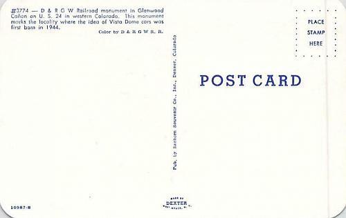 D&RGW Train, Railroad & Monument Glenwood Canyon Colo Postcard