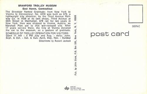 Streetcar Gratitude, New York to Connecticut Trolley Vintage Postcard