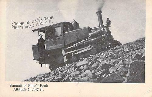 Summit of Pike's Peak , Cog Railroad 25% Grade Vintage Postcard