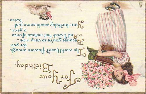 For Your Birthday (Wishes) Young Girl Embossed Vintage Postcard