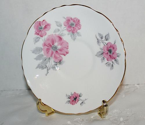 Vintage Hammersley Teacup & Saucer Pink English Roses Grey Leaves, c1912-1939