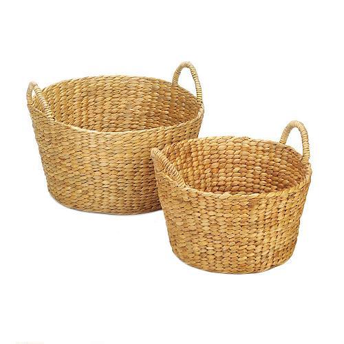 *18774U - Round Hyacinth Straw Wicker Basket 2pc Set Duo