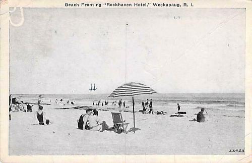 "Beach Fronting ""Rockhaven Hotel"", Weekapaug, R.I. Vintage Postcard"