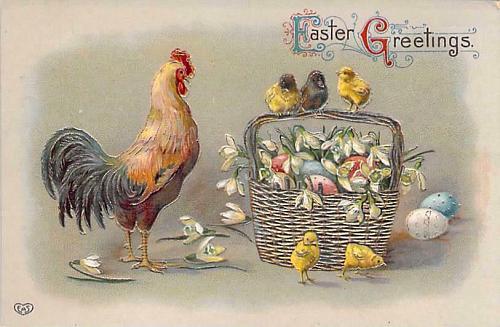 Easter Greetings Rooster, Chicks with Eggs in Basket Embossed Vintage Postcard