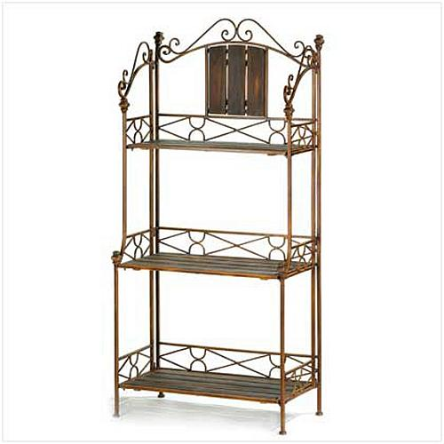 12516U - Rustic Baker's Rack Ornate Metal Scrollwork Frame 3 Wood Shelves