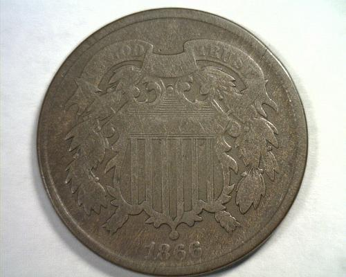 1866 TWO CENT PIECE VERY GOOD+ VG+ NICE ORIGINAL COIN FROM BOBS COINS FAST SHIP