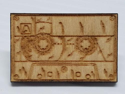 Laser Engraved Cassette Tape Tiger Paw Hat Pin
