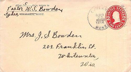 1914 Ekalaka Montana to Whitewater, Wis Cover, 2c PSE