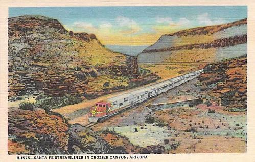 Santa Fe Streamliner in Crozier Canyon, Arizona Vintage Postcard
