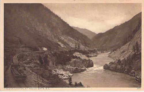Train In Frazer Canyon at Hells Gate British Columbia Railroad Vintage Postcard