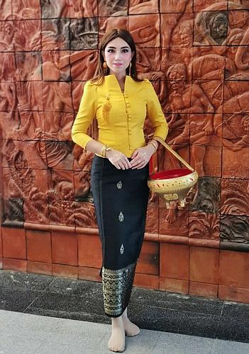Yellow Lao Laos Traditional Silk Blouse Black Sinh Clothing Dress Size 0-18