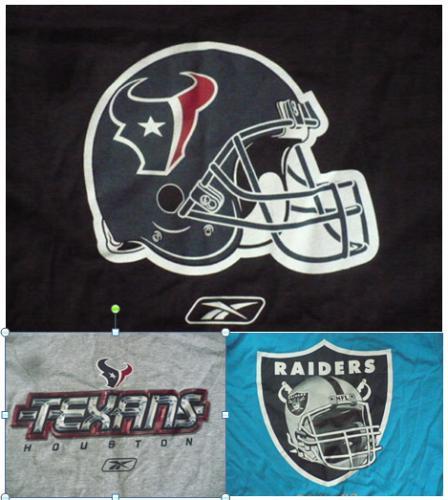 NFL FOOTBALL T-SHIRT HOUSTON TEXANS-BLACK, TEXANS-GREY, RAIDERS-BLUE, 1pc.each
