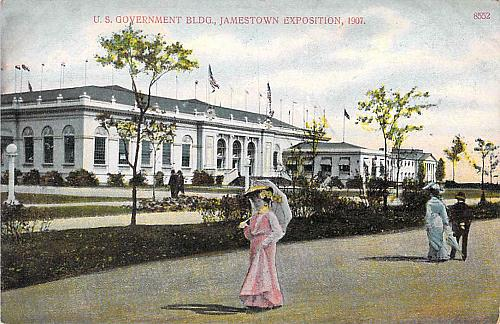 1907 U.S. Government Building Jamestown Exposition Used Postcard