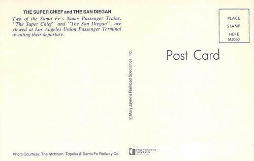 Super Chief and the San Diegan Santa Fe's Trains Railroad Vintage Postcard