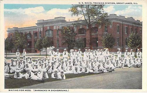 U.S. Naval Training Center Great Lakes, Waiting for Mess Unused Vintage Postcard