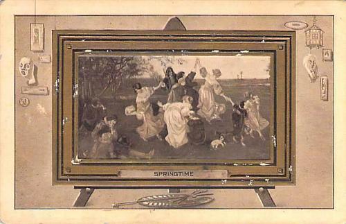 Springtime Artwork in an Embossed Frame Vintage Postcard