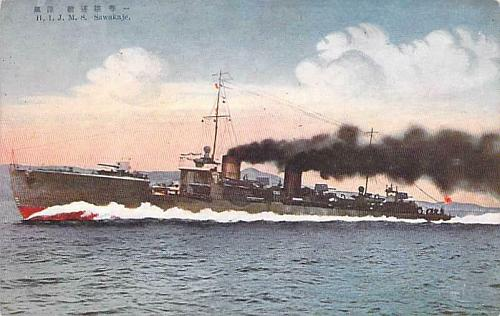 H.I.J.M.S. Sawakaje Navy Destroyer Japanese Vintage Postcard