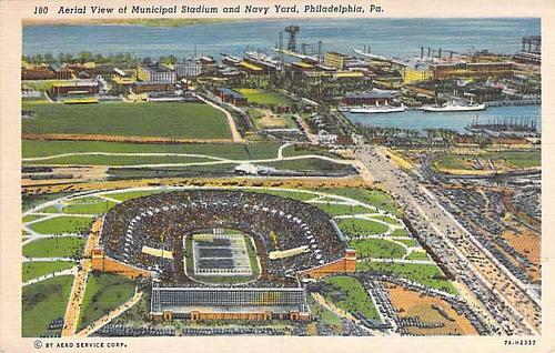 Aerial View of Municipal Stadium & Navy Yard, Philadelphia PA Vintage Postcard