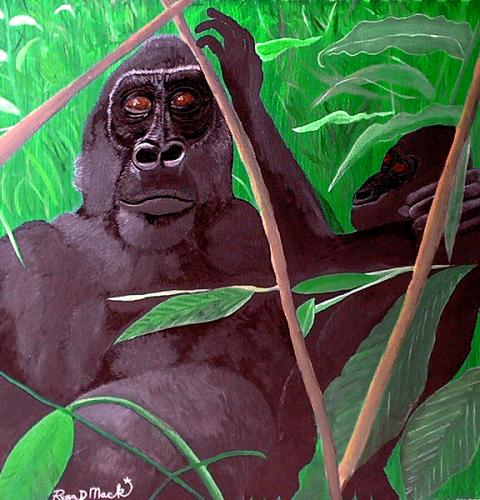 GORILLA MOTHER AND BABY ORIGINAL PAINTING on canvas